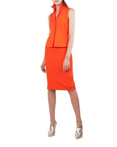 Shirtdress with Sleeveless Cotton Top and Stretch Pencil Skirt