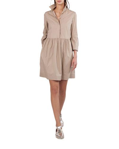 Button-Front Flared-Skirt Short Cotton Shirtdress