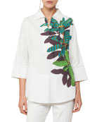 Collared V-Neck Tropical-Leaves Cotton-Stretch Tunic Blouse