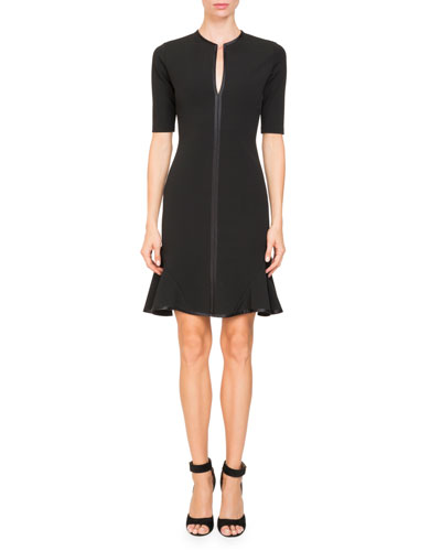 Short-Sleeve Split-Neck Dress