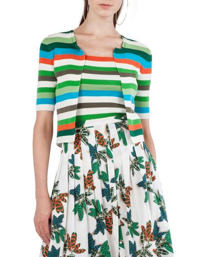 Round-Neck Zip-Front Striped Knit Cardigan