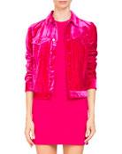 Fluid Velvet Button-Front Jacket
