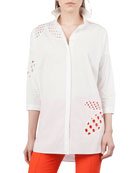 Button-Front Collared Cotton Tunic Shirt w/ Lace-Leaves Cutouts