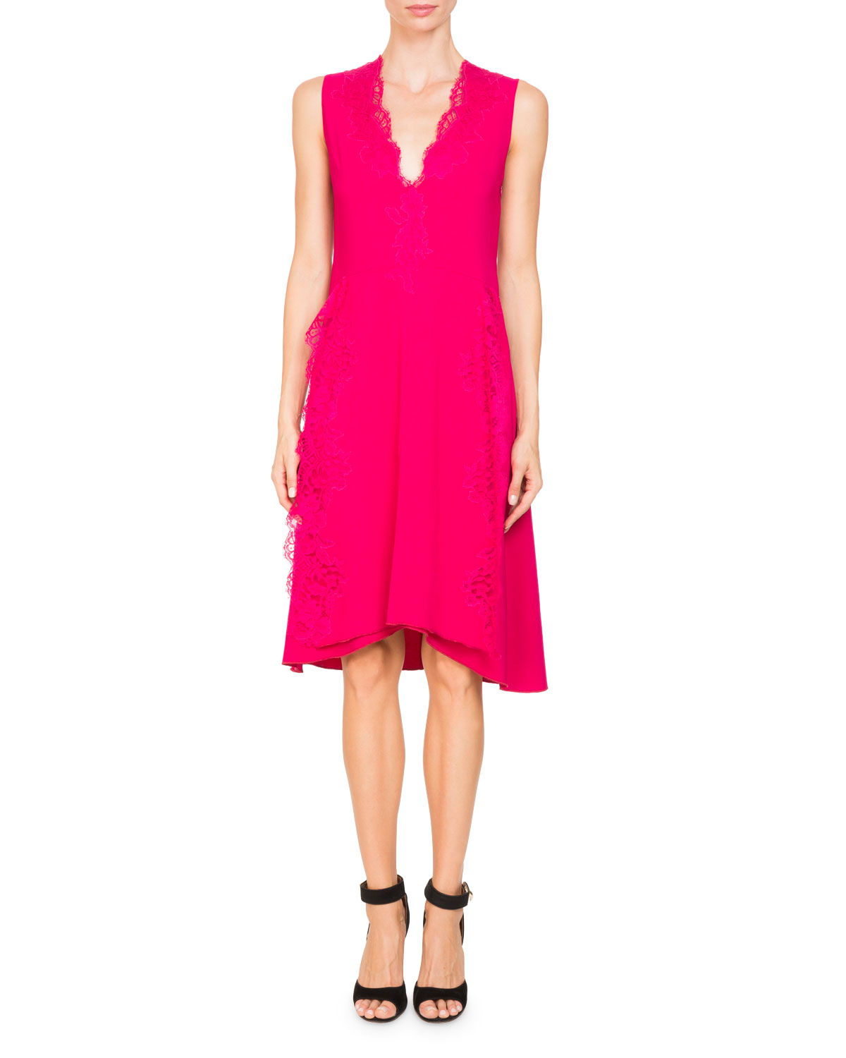 V-Neck Sleeveless Stretch-Cady Cocktail Dress with Lace