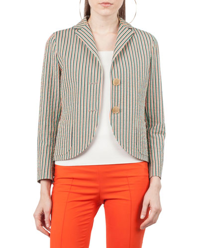 Two-Button Striped Seersucker Blazer
