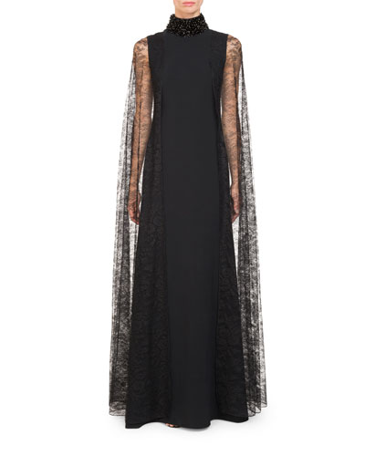 High Beaded-Neck Cady Evening Gown w/ Lace Cape Sleeves