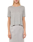 Round-Neck Short-Sleeve Cropped Knit Top with Side Snaps