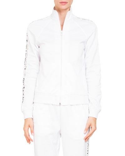 Zip-Front Logo Sleeve Neoprene Track Jacket