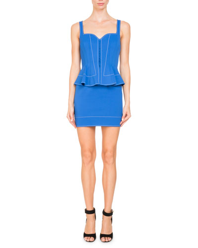 Sleeveless Sweetheart-Neck Peplum Mini Cocktail Dress