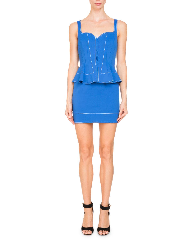 Sleeveless Sweetheart-Neck Peplum Mini Cocktail Dress
