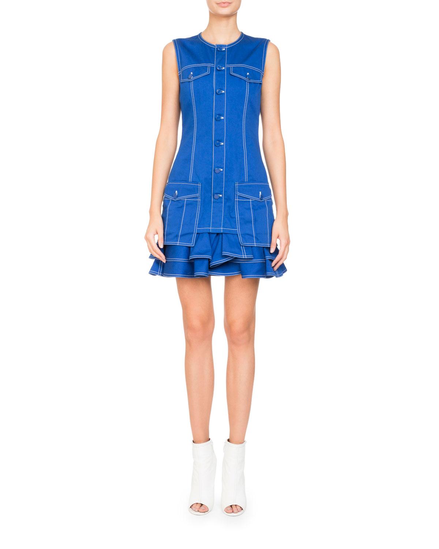 Sleeveless Button-Front Cotton Mini Dress w/ Ruffled Hem