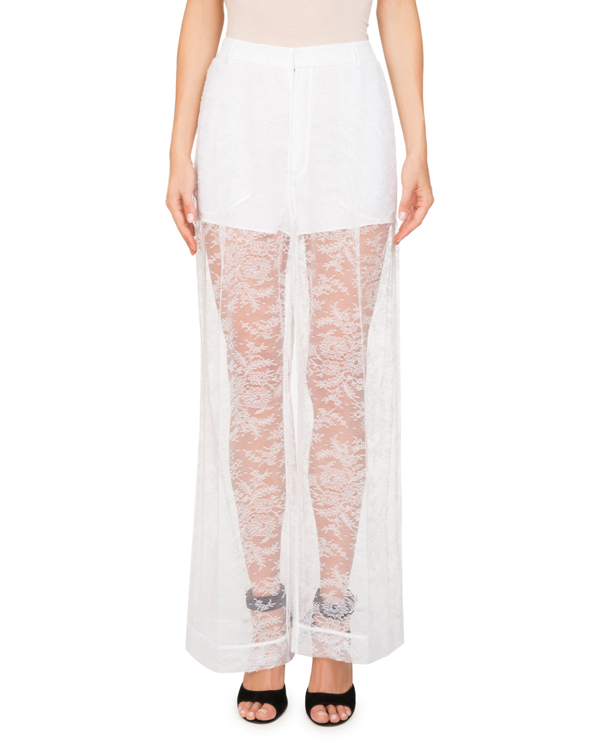 Floral-Lace Wide-Leg Pants w/ Shorts Lining