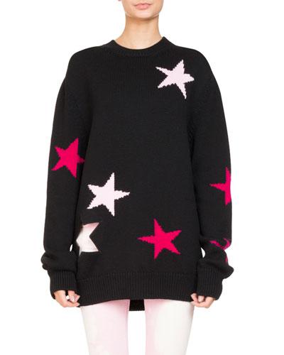 Star Knit Crewneck Oversize Sweater