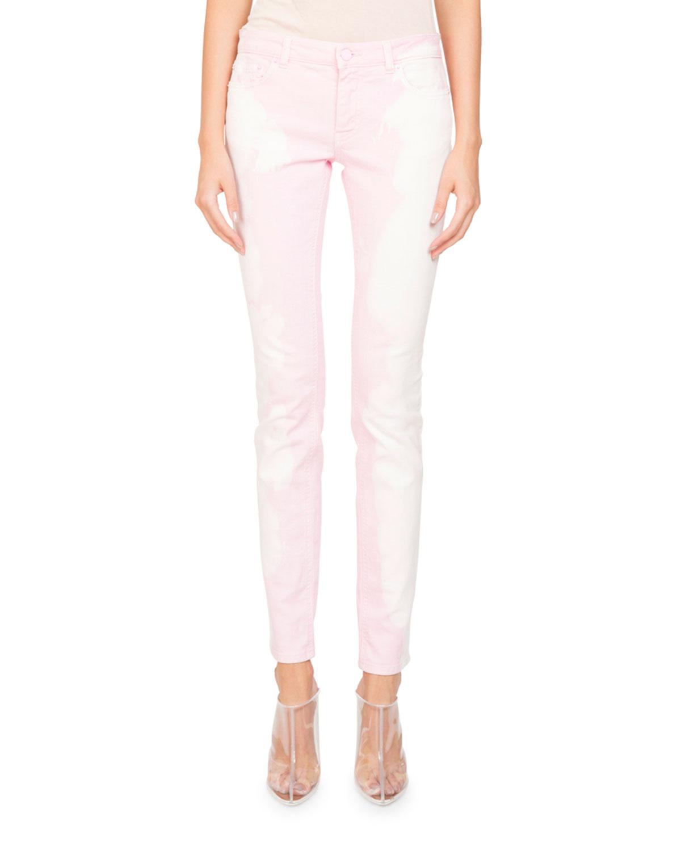 Bleached-Denim Skinny-Leg Five-Pocket Jeans