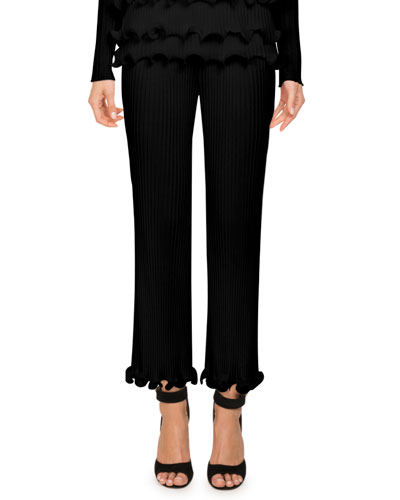 High-Waist Ribbed Knit Straight-Leg Pants w/ Ruffled Hem
