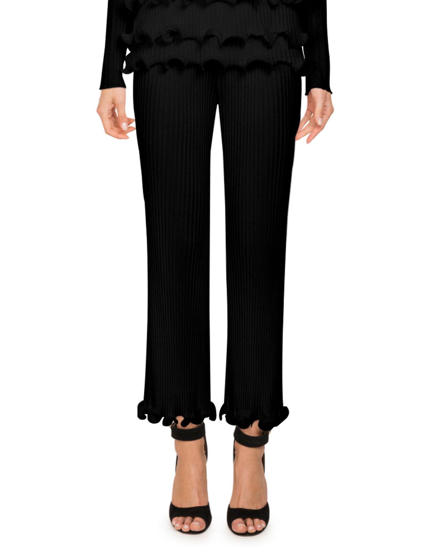 High-Waist Ribbed Knit Straight-Leg Pants w/ Ruffled Hem