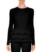 Crewneck Rib-Knit Sweater w/ Tiered Ruffle Hem