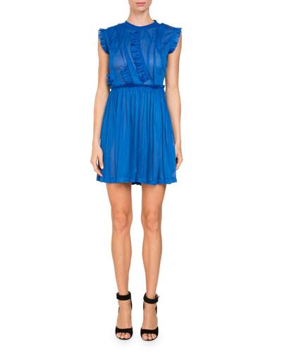Sleeveless Jersey Mesh Faux-Wrap Cocktail Dress