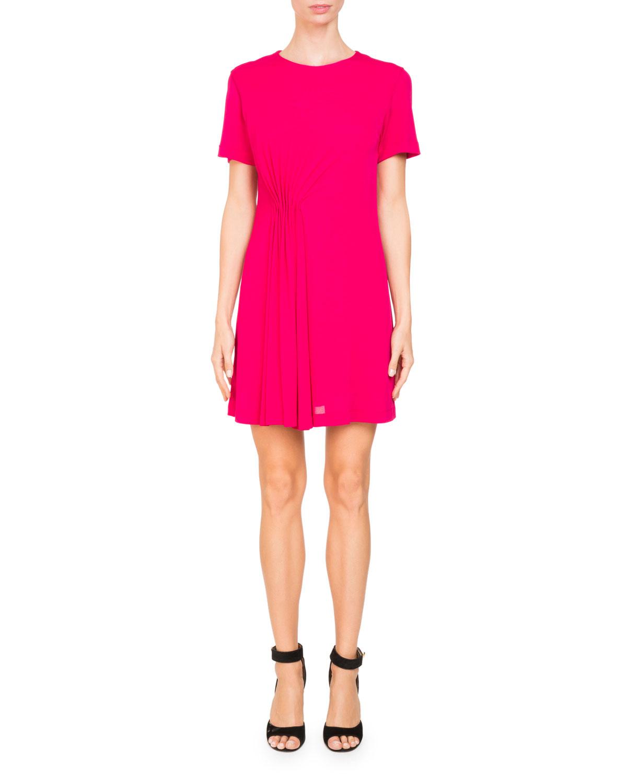 Jewel-Neck Short-Sleeve Crepe Dress
