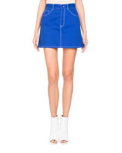 A-Line Stretch-Denim Skirt w/ Logo Detail