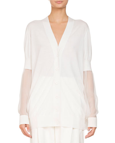 V-Neck Button-Front Oversized Cardigan w/ Chiffon Sleeves
