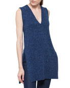 V-Neck Sleeveless Mélange A-Line Wool-Cashmere Sweater