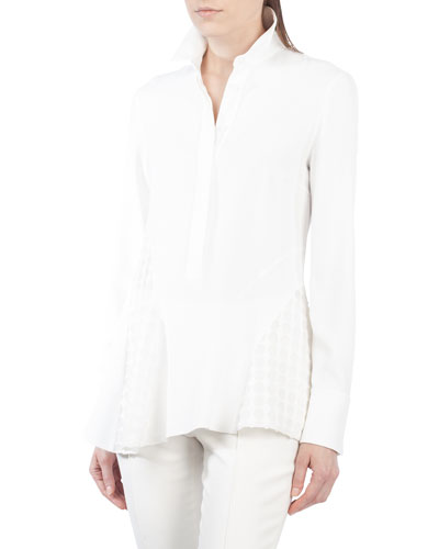 Stand-Collar Long-Sleeve Crepe Blouse