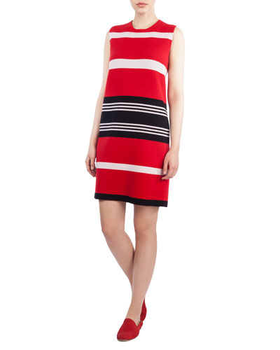 Round-Neck Sleeveless Reversible Striped Cashmere Kit Dress