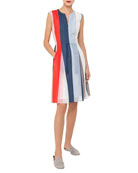 Zip-Front Sleeveless Striped Voile Dress