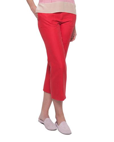 Colette Straight-Leg Cotton-Silk Ankle Pants