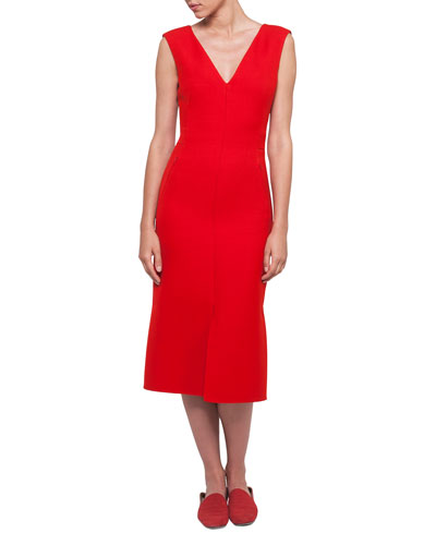 V-Neck Sleeveless Wool-Silk Midi Dress