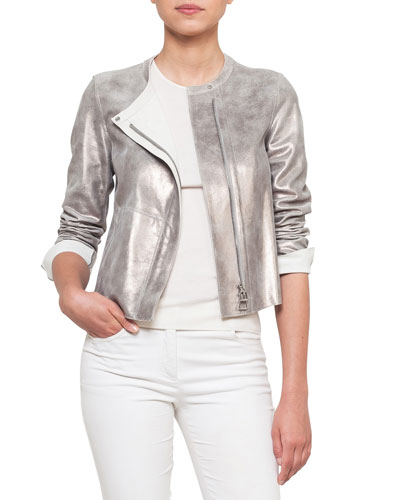 Zip-Front Reversible Napa Leather Jacket