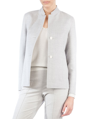 Mock-Neck Single-Breasted Reversible Wool-Silk Jacket