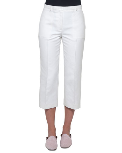 Straight-Leg Cropped Cotton-Silk Pants