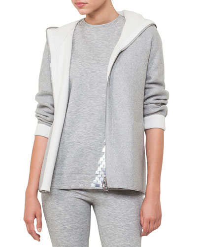 Nat Hooded Zip-Front Reversible Fleece Cardigan Jacket