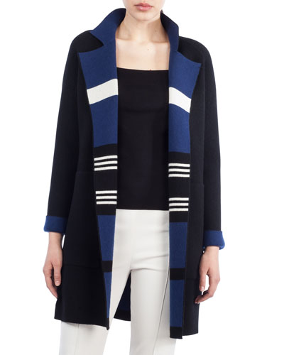 Open-Front Reversible Striped Cashmere Knit Coat