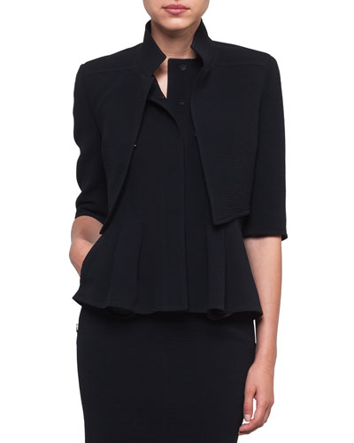 Mock-Neck Wool-Stretch Short Jacket