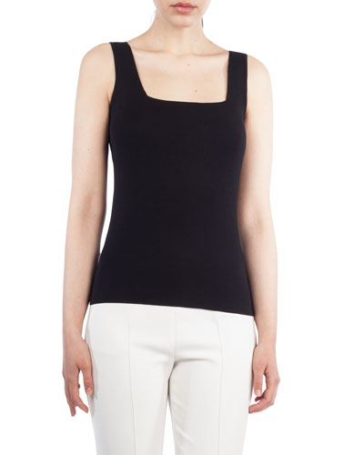 Square-Neck Sleeveless Silk-Stretch Knit Tank