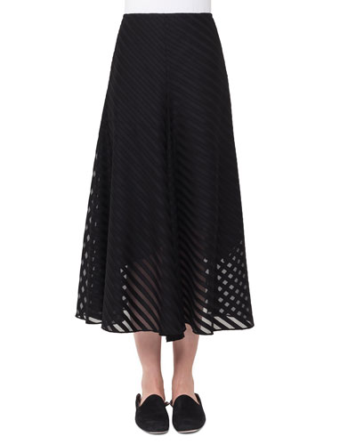 Diagonal Jacquard A-Line Midi Cotton Voile Skirt