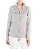 Button-Front Narrow-Stripe Silk Blouse