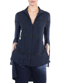 V-Neck Button-Front Silk Crepe Blouse w/ Embellished Stripes