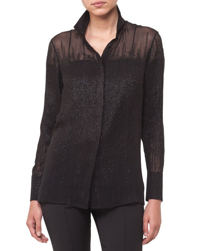 Button-Front Long-Sleeve Beaded-Embellished Silk Blouse