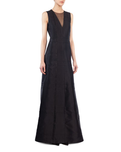 Sleeveless V-Neck Illusion Silk Shantung A-Line Evening Gown