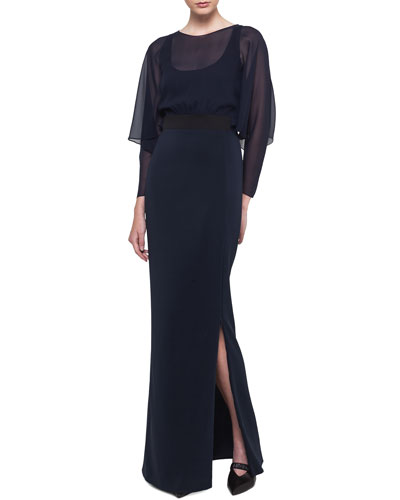 Long-Sleeve Silk Georgette Blouson Gown