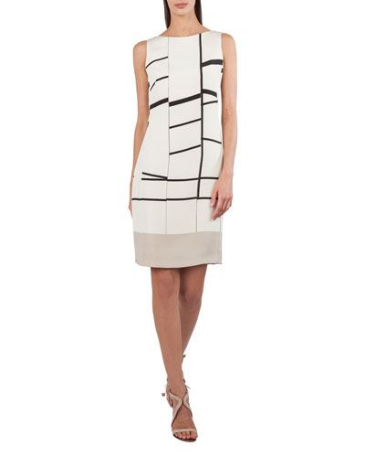 Sleeveless Broken-Stripes Stretch-Crepe Dress