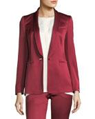 One-Button Shawl-Collar Duchess Satin Blazer