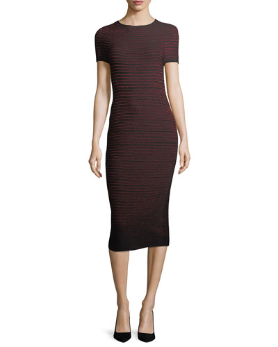 Lurex Ottoman-Knit Bodycon Midi Dress
