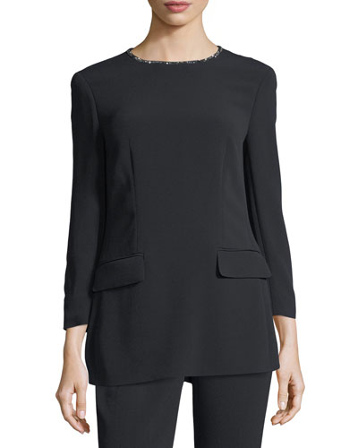 Crystal-Neckline 3/4-Sleeve Tunic