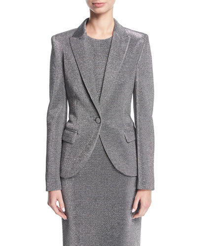 Lurex® Notch-Collar One-Button Blazer