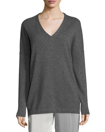 Lurex Cashmere V-Neck Pullover